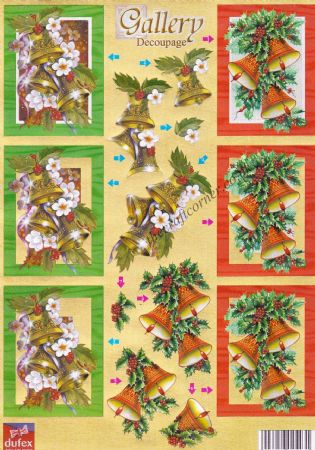 Christmas Bells and Flowers Die Cut 3d Decoupage From Dufex